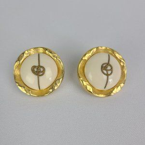 Vintage Made In Italy Gold Tone Clip On Earrings